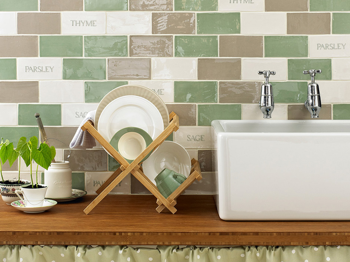 Kitchen Tile With Herbs