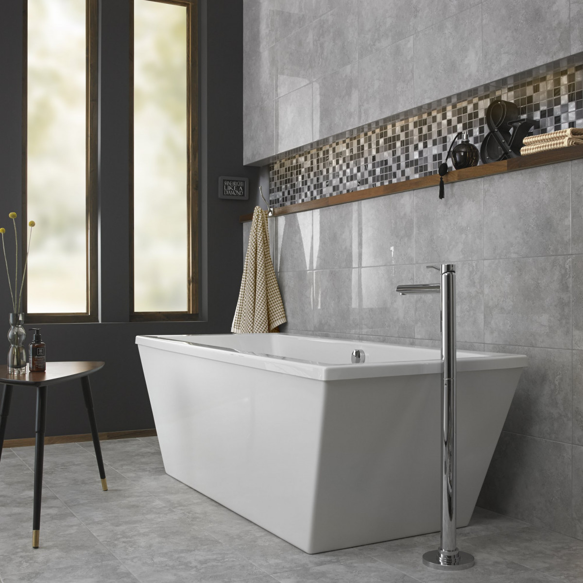 British ceramic tile grey gloss wall british ceramic tile dailygadgetfo Choice Image