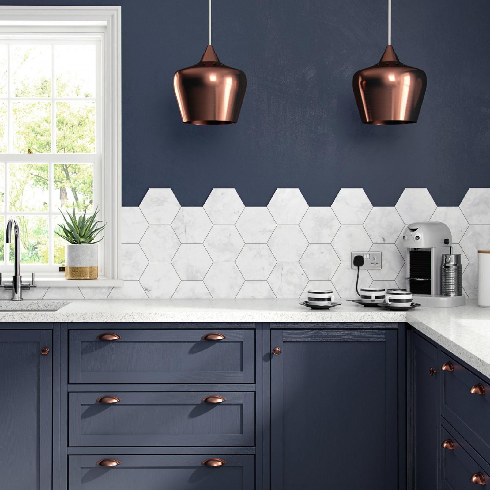 British Ceramic Tile White Marble Hexagon Wall & Floor | British ...