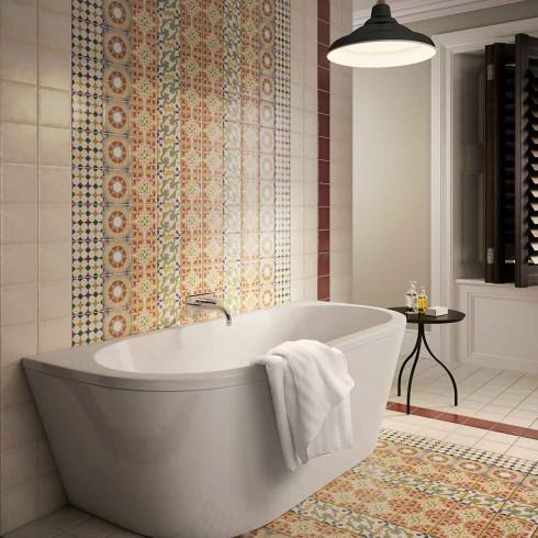 Set Of 12 Coloured Decors 4 Designs Wall Floor British Ceramic Tile Parian