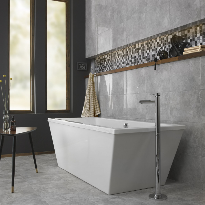 British Ceramic Tile Rapolano Grey Gloss Wall