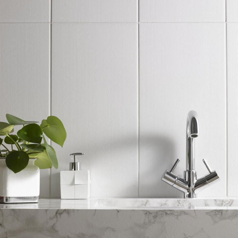 British Ceramic Tile Textile Linen Grey Matt Wall British Ceramic Tile