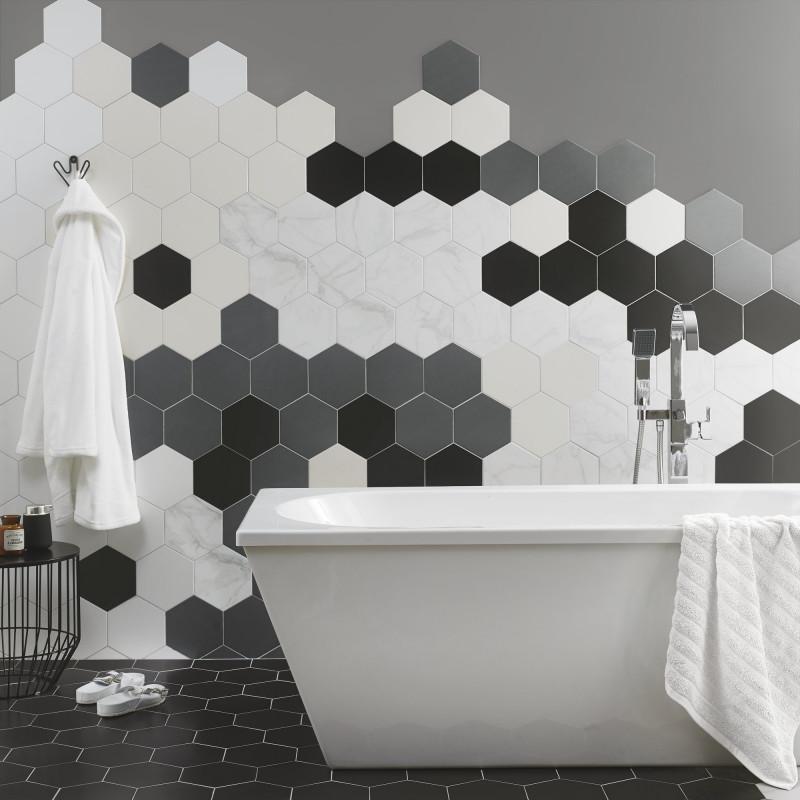 British Ceramic Tile Cream Hexagon Satin Wall Floor British